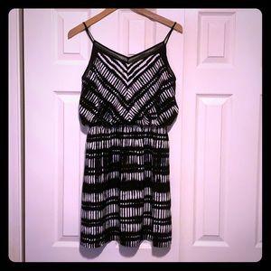 Cute black and white thin strap summer dress